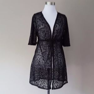 Bathing Suit Cover Catalina  Black Lace Medium